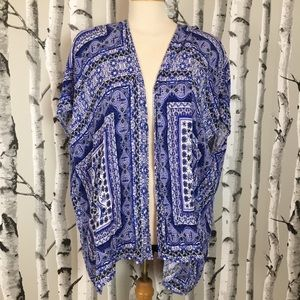 Charlotte Russe Blue & White Kimono with Lace Back